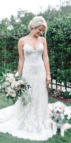 Rustic Lace Wedding Dresses For Different Tastes Of Brides ★ rustic lace wedding dresses sheath with spaghetti straps vintage allure bridals 18 Rustic Lace Wedding Dresses For Different Tastes Of Brides Wedding Dresses With Straps, Rustic Wedding Dresses, Perfect Wedding Dress, Boho Wedding Dress, Lace Wedding, Summer Wedding Dresses, Backless Wedding, Wedding Suits, Spring Wedding
