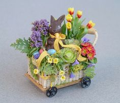 how to easter miniature scale | Chocolate Bunny in cart with Spring flowers and Easter eggs.