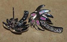 pink fire opal Cz earrings gemstone silver jewelry modern stud Palm Tree design