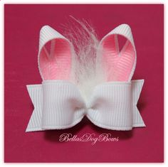 5/8 CHOICE - Bunny Rabbit Ears with Fluff Single Loop Easter Bow  ..........  (COLOR CHOICE - You choose ribbon color). $5.50, via Etsy.
