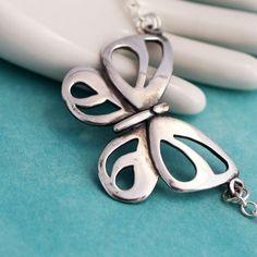 Modern sterling silver handmade butterfly necklace #jewelry #silver #neckalce #butterfly