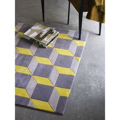 Plantation Geometric 3D Rug in Yellow and Grey | Cult Furniture UK