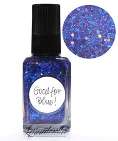 Lynnderella Limited Edition—Good for Blue! is made with assorted blue-violet holographic and metallic glitters swimming in a blue moonstone-shimmered clear base.