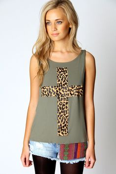 Grace Leopard Cross Print Drop Hem Tank £8 >> http://www.boohoo.com/day-tops/grace-leopard-cross-print-drop-hem-tank/invt/azz63963#  I love this top. It's simple that can be dressed down with a pair of shorts of worn a bit dressier with a skirt. Great for summer and I love the leopard print cross! This would look super cute with the metallic gold tights I pinned on my board :)