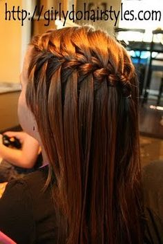 Isn't the name completely fitting? The waterfall braid looks exactly like a cascading waterfall of hair. This one would work exceptionally well if your daughter has some Rapunzel-style tresses. Little Girl Hairstyles, Pretty Hairstyles, Braided Hairstyles, Bob Hairstyles, Toddler Hairstyles, Wedding Hairstyles, Teenage Hairstyles, Style Hairstyle, Updo Hairstyle