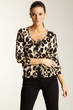 Leopard Print Cardigan / Black Jeans