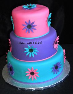 Pink, Purple and Teal by Cakes with L.O.V.E., via Flickr