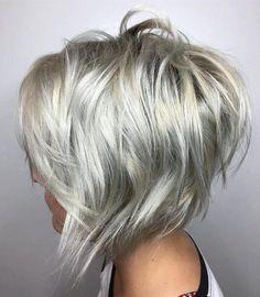 Choppy Silver Blonde Angled Bob