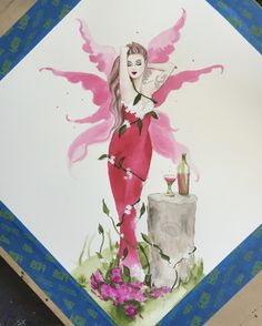 "33cm X 33cm original watercolour painting of a gorgeous pink-winged fairy in a  pink dress enjoying some ""pinkchampagne  #fairies #painting #fantasy #art #wine #wings #pink #artist #deenoney"