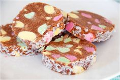 """Lolly Cake in New Zealand is a national institution! A lolly cake or lolly log is a New Zealand cake which features """"lollies"""" in the ingr. Cakes To Make, How To Make Cake, Food To Make, Baking Recipes, Cake Recipes, Kiwi Recipes, Fun Recipes, Yummy Treats, Sweet Treats"""