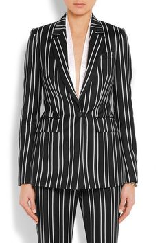 Givenchy - Blazer In Black And White Striped Wool-jacquard - FR38