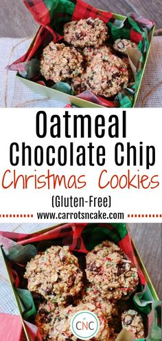 These Gluten-Free Oatmeal Chocolate Chip Christmas Cookies will bring a smile to just about anyone's face this season. They're made with wholesome rolled oats, melted coconut oil, dark chocolate chips, and red and green sprinkles. They're a wonderful gesture as well as a seriously delicious addition to a holiday spread!