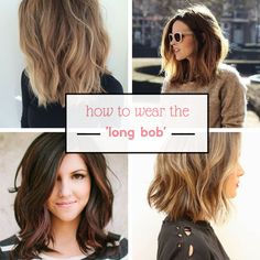 How to wear the long bob - a great hairstyle for busy Mums. I love this look; it's quite different for me as I have always had long, highlighted hair. Pictured are some of my favourite styles and colours for the long, wavy bob. And they are showing just how lovely and perfect the look is for us busy Mums on the go! http://mummyofboygirltwins.com/fashion-3/hairstyles-i-love-the-long-wavy-bob/