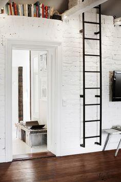 Idée : Mur de briques,laissé brut peint en blanc