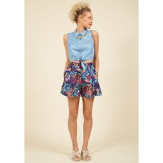 All Over the Archipelago Shorts ($40) ❤ liked on Polyvore featuring shorts, apparel, bottoms, short, varies, high rise shorts, navy blue high waisted shorts, pleated culottes, navy blue shorts and highwaist shorts