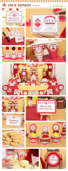 Sock Monkey Birthday Party  Party Cones & Bonus Mini by LeeLaaLoo, $5.00