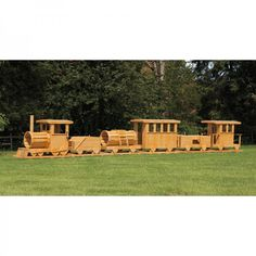 Amish Made 45 ft Long Wooden 6 Piece #Train #Playground #Set