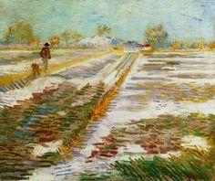 Vincent van Gogh Landschap met sneeuw  Arles febr-maart 1888
