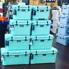 All sizes. Yeti Brand, Yeti Cooler, Cute House, Tiffany Blue, Sea Foam, Girly Things, Tumblers, Pink And Green, Alaska