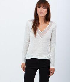 Top en lin empiècements plumetis - Tops, tee-shirts - La collection - Prêt-à-porter