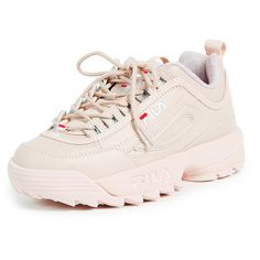 Fila Disruptor 2 Premium Sneakers (€55) ❤ liked on Polyvore featuring shoes, sneakers, platform sneakers, leather lace up sneakers, lace up shoes, leather low top sneakers and fila shoes