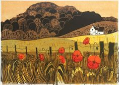 Poppies & Downs 29/75   c. 1968 Linocut 44cm x 62cm