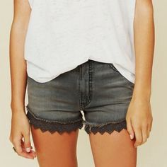 Free People Denim Lace Shorts Cute shorts for the summer! Dark wash Free People Shorts Jean Shorts