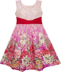 Mädchen Kleid Ärmellos Blühend Blume Garten drucken rot