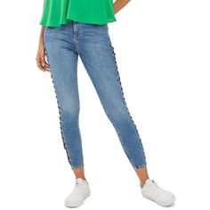 Petite Women's Topshop Jamie Side Lace-Up Ankle Skinny Jeans ($95) ❤ liked on Polyvore featuring jeans, mid denim, petite, high rise white skinny jeans, skinny ankle jeans, high waisted denim jeans, high waisted jeans and white high-waisted jeans