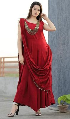 35c0842362 #bollywoodgowns #muslimbridalgowns Have a ravishing look wearing this red  color shaded rayon embroidered gown