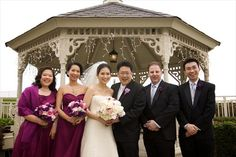 sangria and ivory wedding colors | photo michael s wedding group bridal party posing at the gazebo the ...