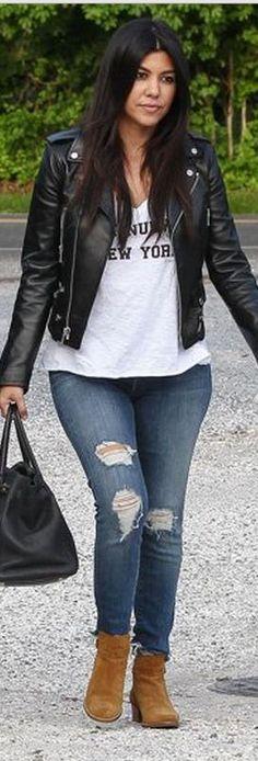Kourtney Kardashian: Shirt – Twenty Tee  Jacket and shoes – Saint Laurent  Purse – Hermes