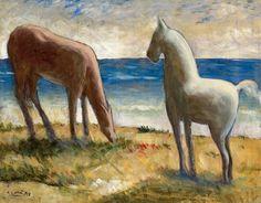 Carlo Carrà - Cavalli al mare (Horses to the sea), 1953 Mare Horse, Horses, Gino Severini, Giacomo Balla, Italian Futurism, Italian Painters, Types Of Art, Impressionist, Moose Art