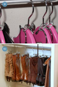 Double hanger created with pull tab from cans and hanging boots using hangers with clips.