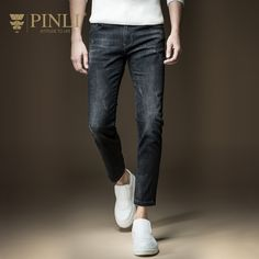 (38.74$)  Watch here - http://ai725.worlditems.win/all/product.php?id=32782228243 - Pinli Hot Sale Zipper Fly Stonewashed Acetate Slim High Pencil Pants 2016 New Fall Mens Only Jeans Pants Male D163516070