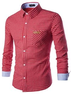 Ericdress Patched Pocket Design Plaid Slim Men's Shirt