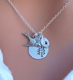 CUSTOM Initial Tree and Sparrow Bird necklace in by RoyalGoldGifts- love it!