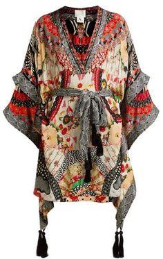 Beautiful Camilla Belted floral-print silk dress Womens Dresses from top store Silk Kimono, Kimono Dress, Kimono Fashion, Pop Fashion, Bohemian Fashion, Boho, Camilla Dress, Beach Wear Dresses, Passementerie