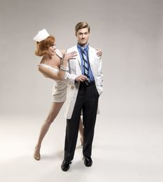 """Aaron Tveit as Frank Abagnale Jr in the Broadway musical, """"Catch Me If You Can"""" Photo shoot as a doctor"""