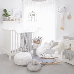 • SWEET NURSERY •  Oh how gorgeous is this sweet nursery of Chet - @oh.eight.oh.nine little man. Loving the simple yet stylish grey pallet and bright and airy feel.  And featured are our vanilla grey and white mobile and matching garland! : @oh.eight.oh.nine  #nurseryinspo #babymobile #kidsinteriors #feltballgarland