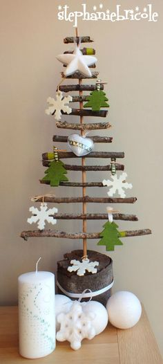 diy sapin nature, I think we'll collect sticks at the park and then once built put it in my sons room for him to decorate with his homemade ornaments! Christmas Makes, Diy Christmas Tree, Homemade Christmas, Christmas Projects, Winter Christmas, Christmas Holidays, Christmas Ornaments, Natural Christmas, Xmas Tree