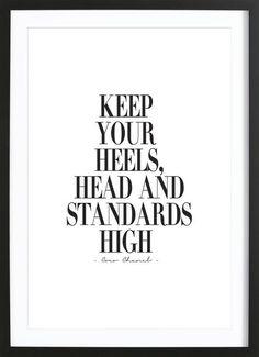 Keep Your Heels, Head & Standards High als Gerahmtes Poster von Honeymoon Hotel | JUNIQE