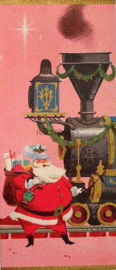 #1608 60s Disney Dick Kelsey Santa & Railroad Train-Vtg Christmas Card-Greeting