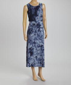 Another great find on #zulily! Blue Tie-Dye Sleeveless Blouson Dress by BellaBerry #zulilyfinds