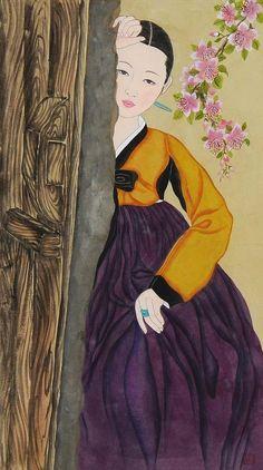 (Korea) Elegance woman by Bak Yeon-ok ). Korean Traditional Clothes, Traditional Art, Traditional Outfits, Korean Illustration, Cute Illustration, Korean Art, Asian Art, Umbrella Painting, Korean Painting