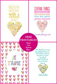 Free printables that focus on matters of the heart. Ready to download and print! | On Sutton Place
