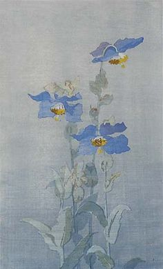 Jean Armitage (British, 1885-1988?). Blue poppies. Woodblock print.