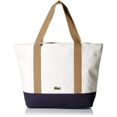 Lacoste Women's Summer Medium Canvas Shopping Bag Tote Bag (£96) ❤ liked on Polyvore featuring bags, handbags, tote bags, canvas tote, summer totes, white shopping bags, white handbags and summer tote bags