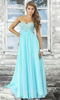 A-Line Strapless Light Sky Blue Chiffon Long Dress Coming06226