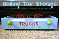 DIY Rolling Toy Storage By LizzieJane using FolkArt Handmade Charlotte Stencil Sets!